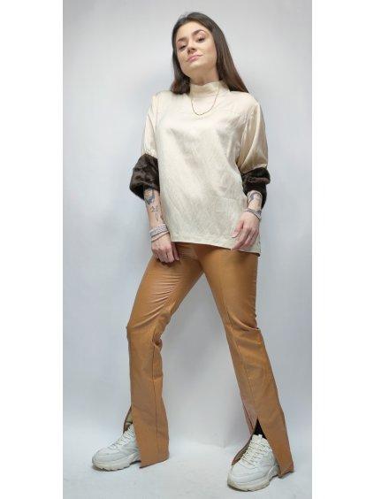 hnědé elegantní kalhoty s hadím vzorem