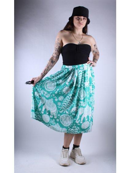 zelená vintage sukně se vzorem