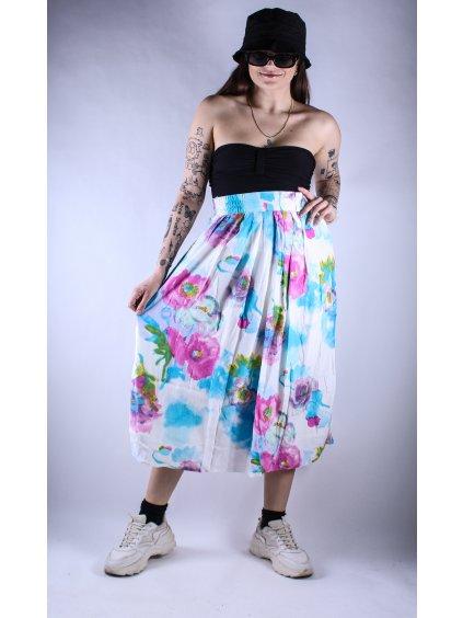 bílá vintage sukně s růžovým a modrým kvítím