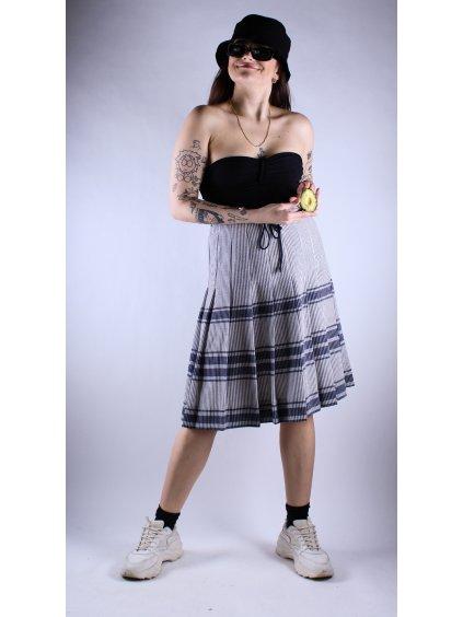 modrá vintage sukně s proužky