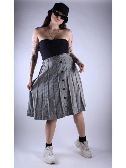 černo bílá károvaná vintage sukně s páskem