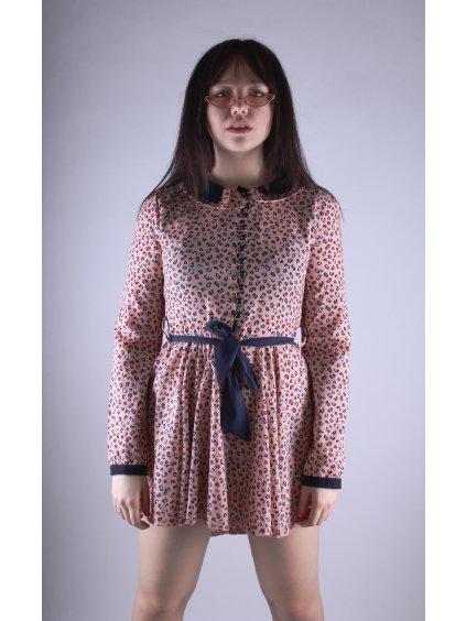 originální růžové vintage šaty s leopardím vzorem
