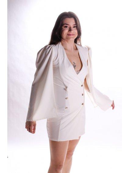 krémové elegantní šaty s knoflíky