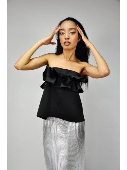 černý top/sukně s volány