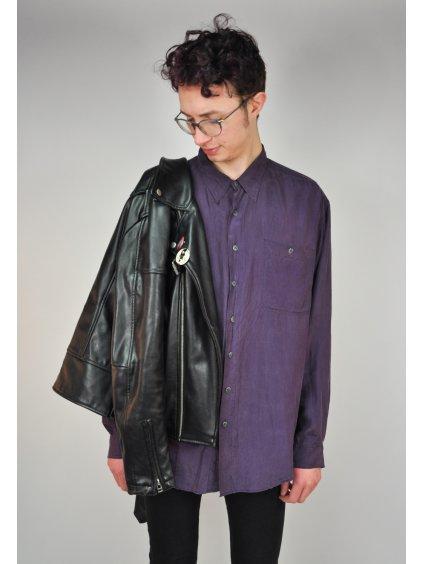 Hedvábná vintage košile fialové barvy