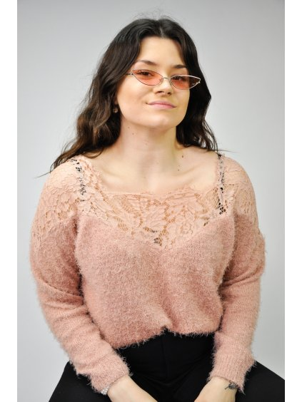 starorůžový chlupatý svetr s krajkou