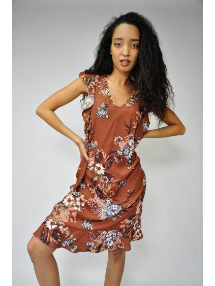 hnědé šaty s květy
