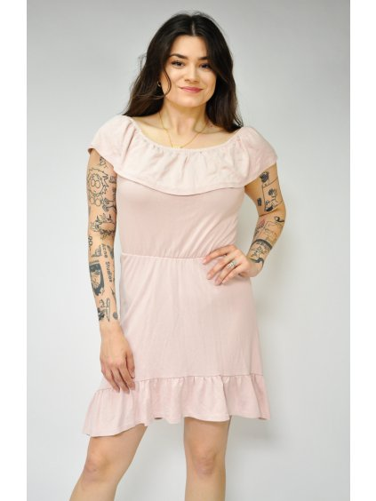 staro růžové šaty s volánem