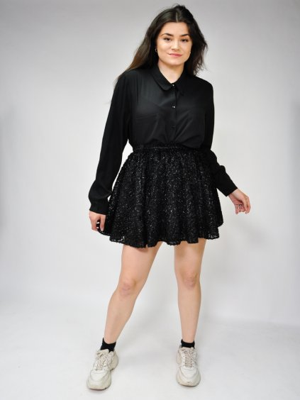 černá sukně s lesklým vzorem