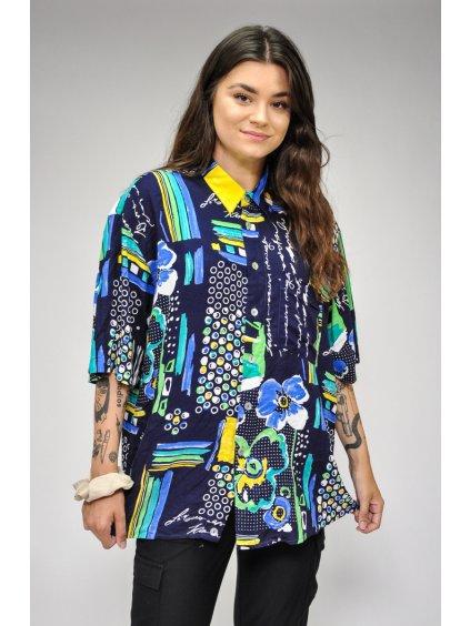 tmavě modrá vintage košile s motivem kytiček