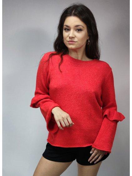 červený svetr s volány