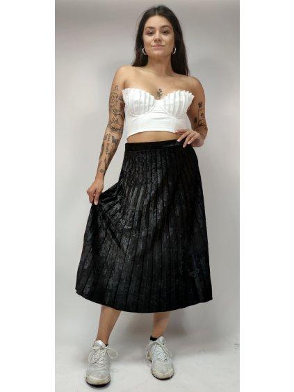 sametová skládaná midi sukně