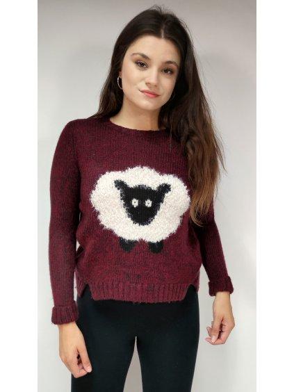 vínový svetr s ovečkou