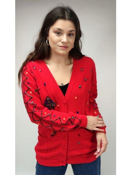 červený vintage svetr s knoflíky a s perličkami