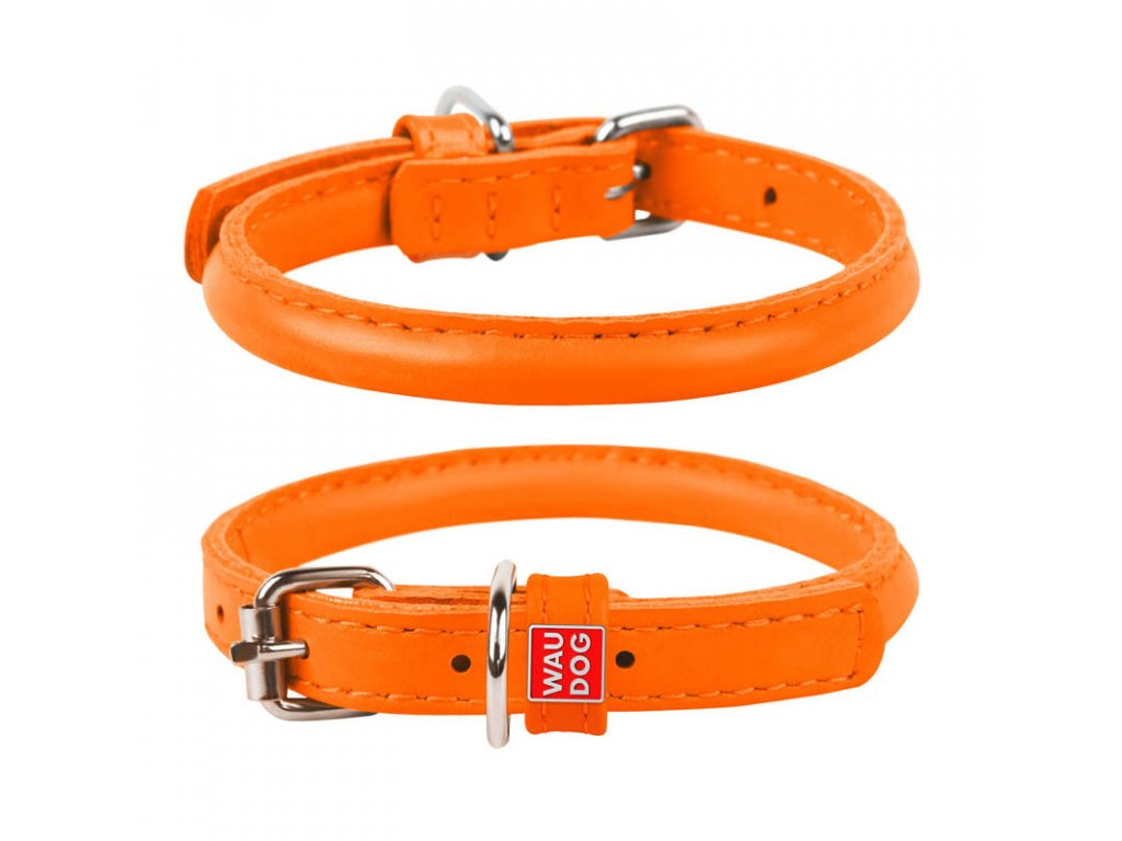 Kulatý kožený obojek oranžový