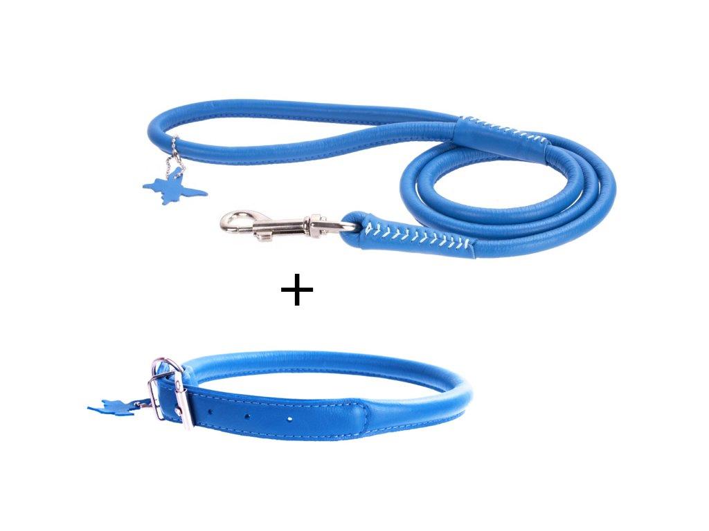 Kulatý obojek a vodítko - modrý set