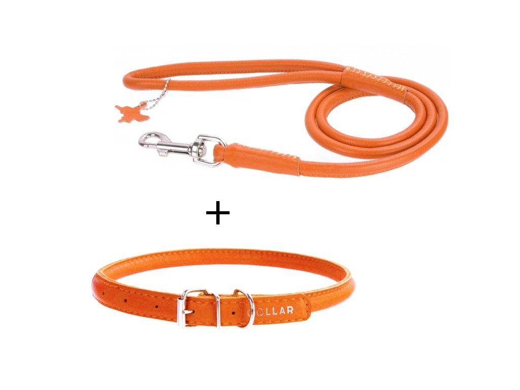 Kulatý obojek a vodítko - oranžový set
