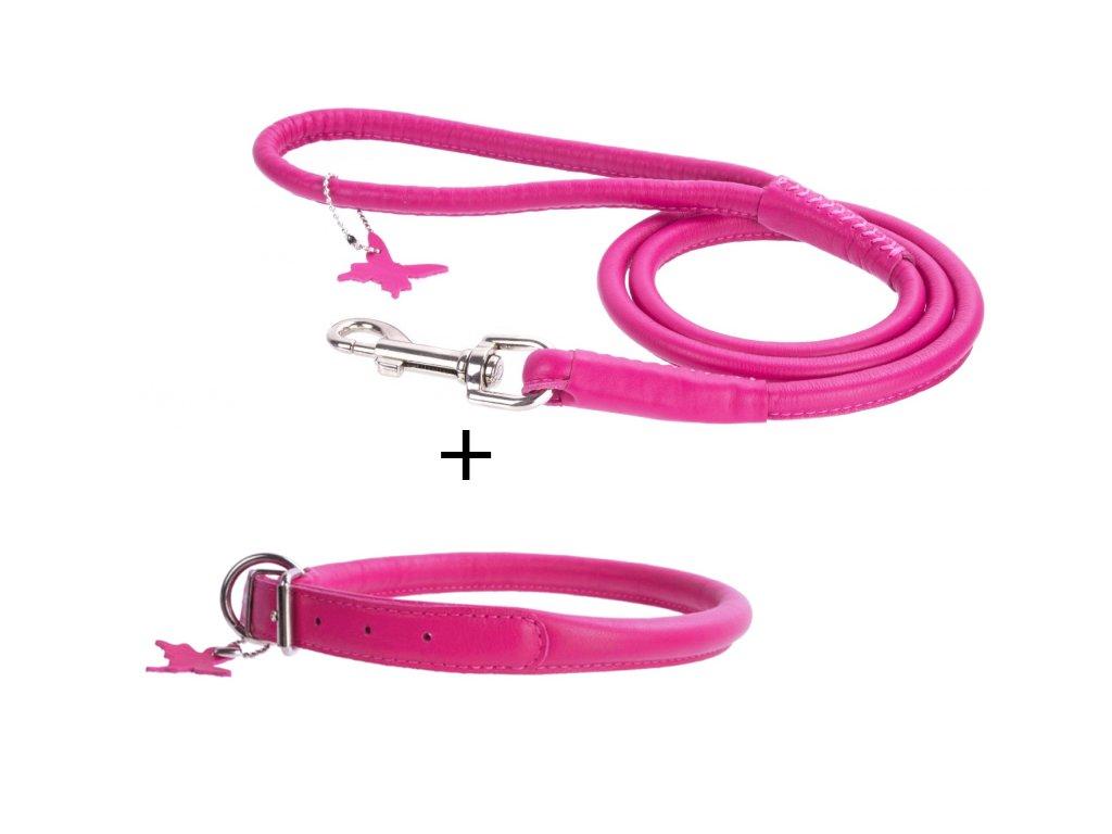 Kulatý obojek a vodítko - růžový set