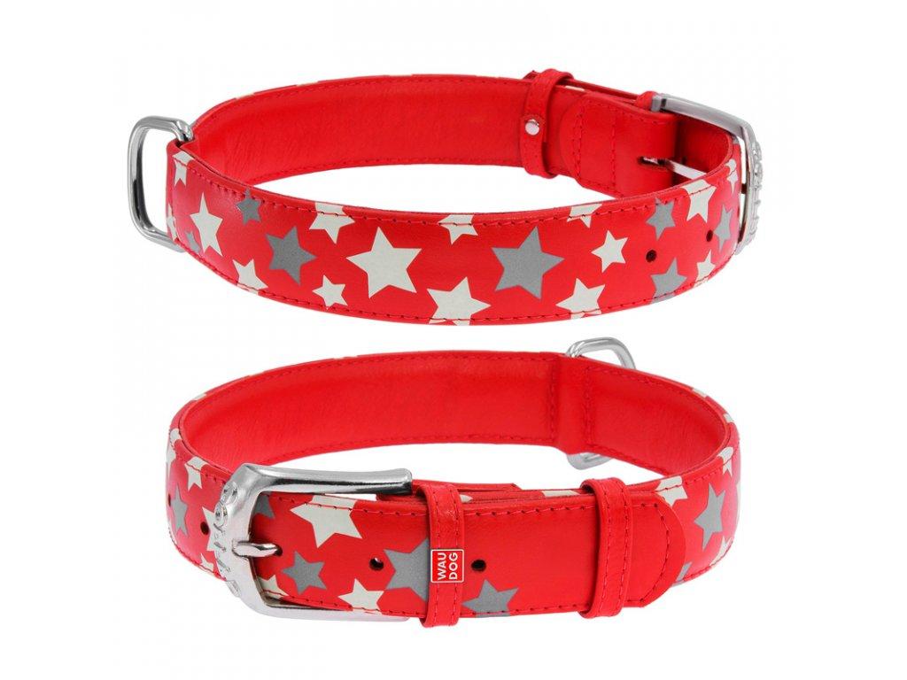Plochý kožený obojek s hvězdičkami červený svítící