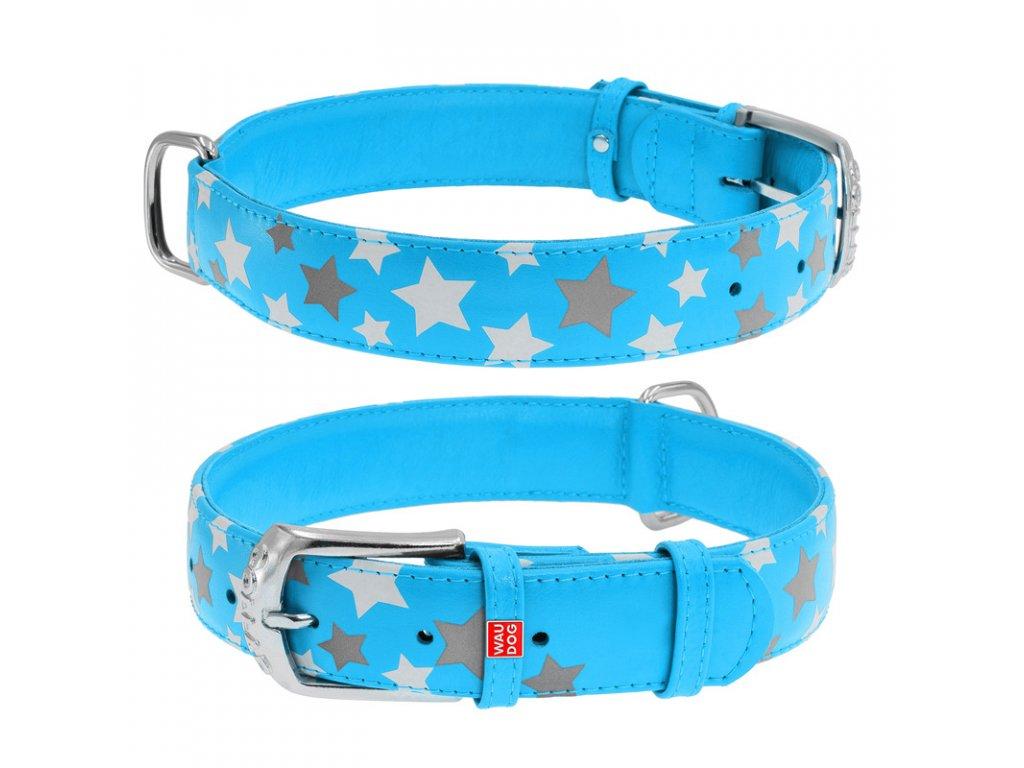 Plochý kožený obojek s hvězdičkami modrý svítící