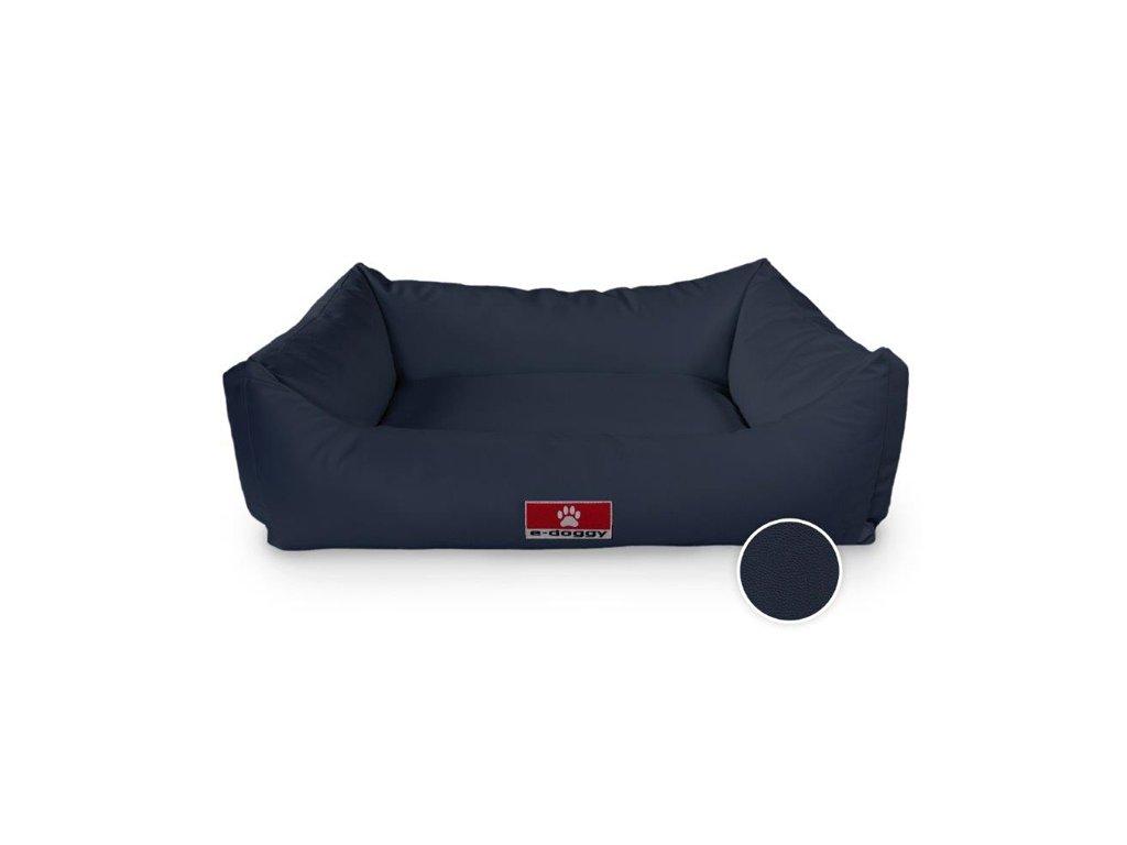 Kvalitní pelíšek pro psa z eko kůže SOFA námornícká modrá  M