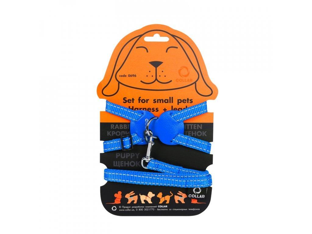 Nylonový postroj pro kočku a hlodavci s vodítkem modrý