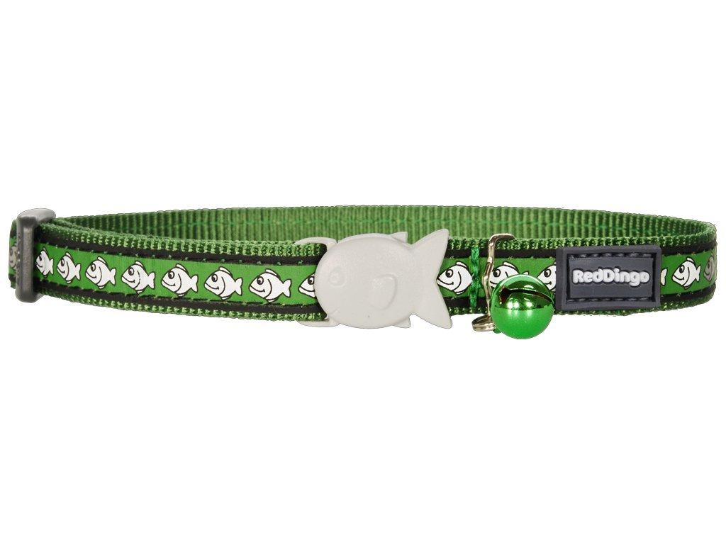 Reflexný nylonový obojek pro kočku zelený