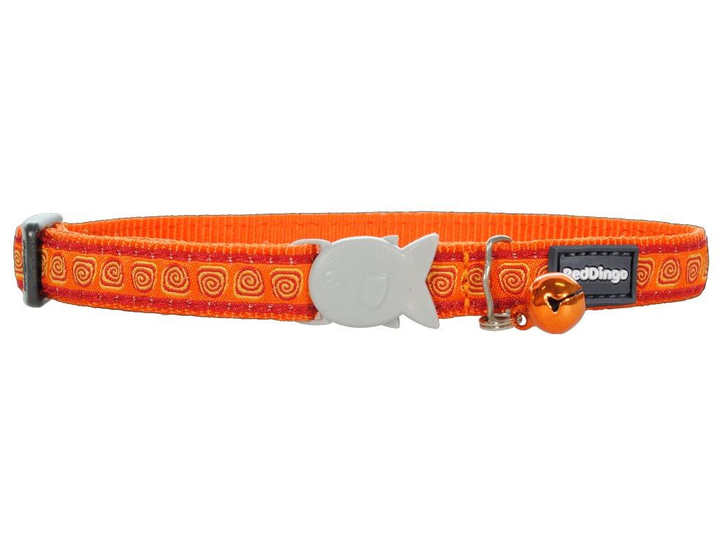Nylonový oranžový obojek pro kočku se vzorem hypno