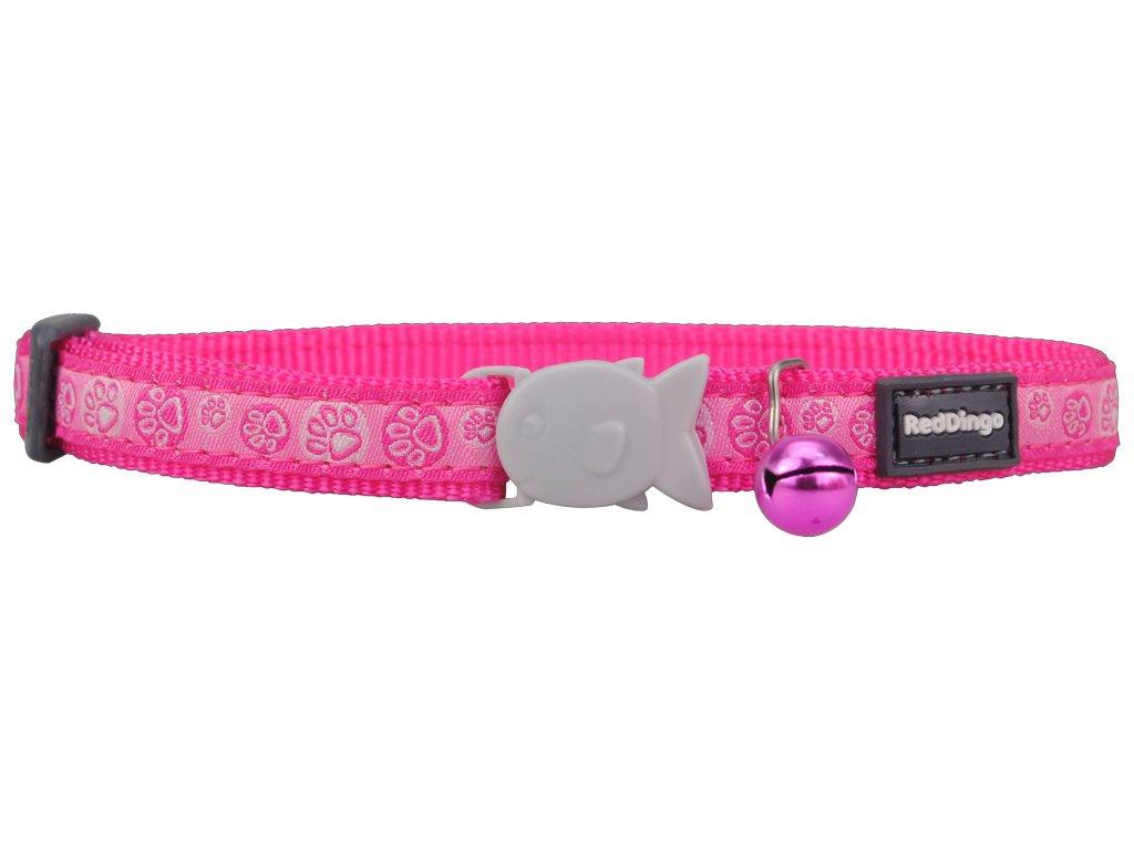 Nylonový růžový obojek pro kočku s labkami