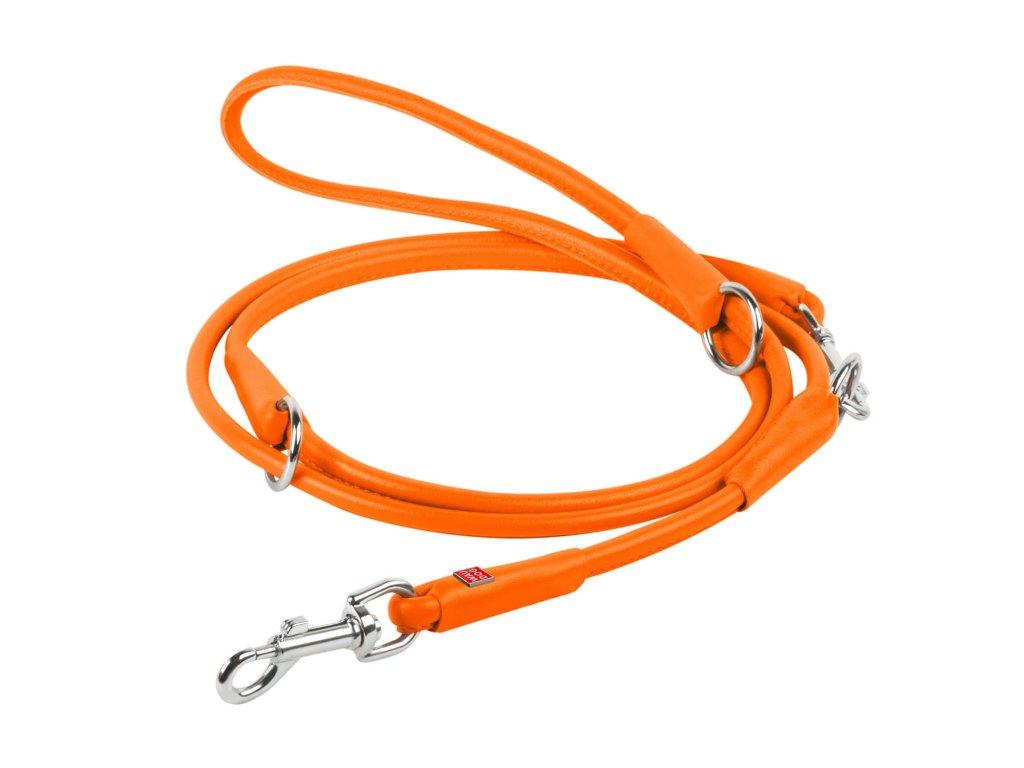 Přepínací kulaté kožené vodítko oranžové barvy