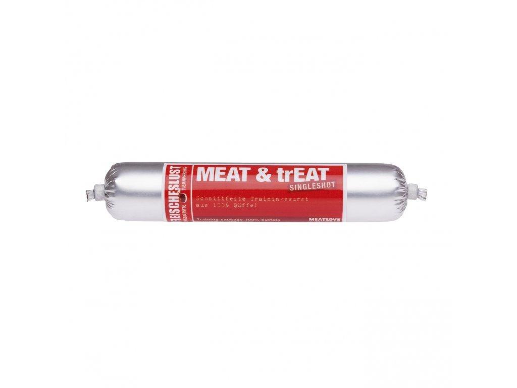 Odmeny pro psy ve tvaru salámy Meat & trEAT 100% buvol 80g