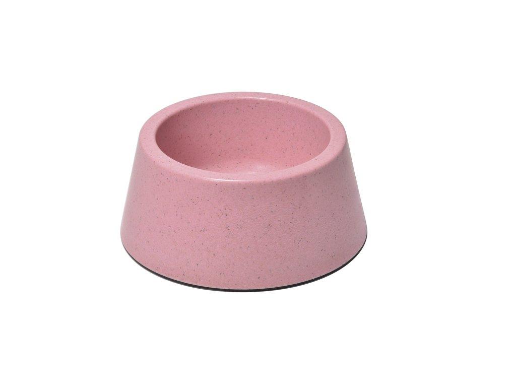 Bambusová miska pro psa růžová kulatá