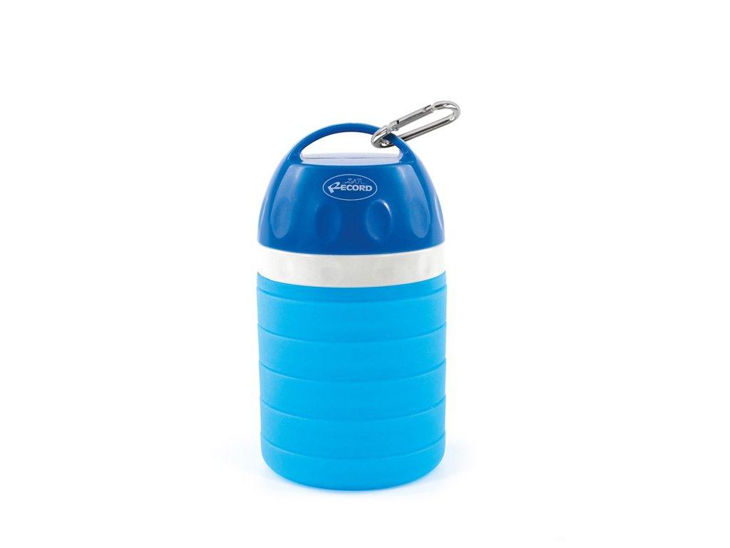 Rastúci cestovní láhev na vodu pro psa s miskou modrá
