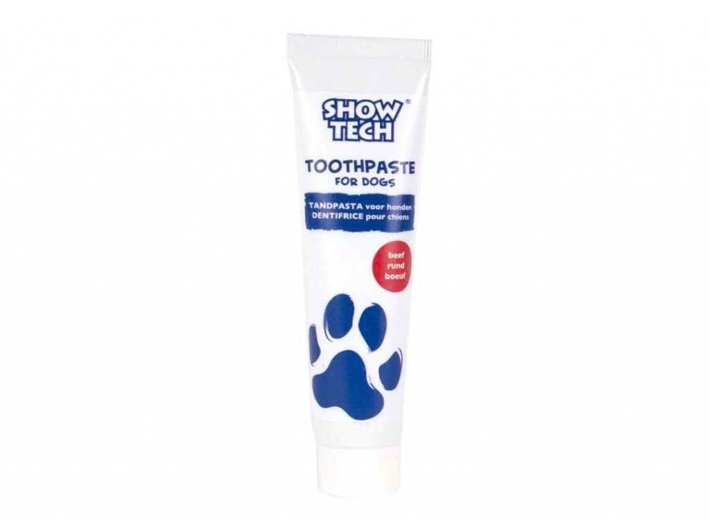 Zubní pasta pro psy s fluoridem s hovězí příchutí.