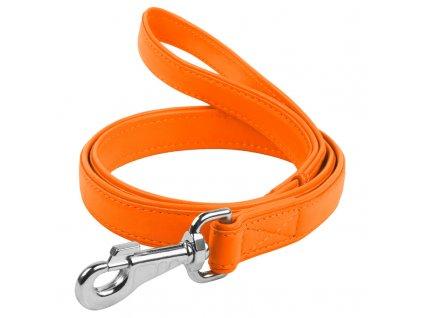 Ploché kožené vodítko oranžové barvy