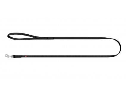 Ploché kožené vodítko s nápisem WAU dog černé 122cm