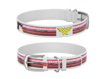 Kožený obojek Wonderwoman DC COMICS bílý