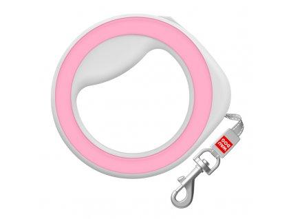 Samonavíjecí vodítko pro psa kruh růžové