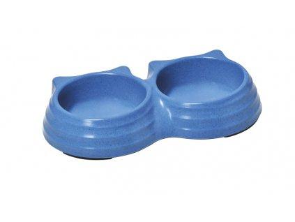 Bambusová dvojitá miska pro kočku modrá