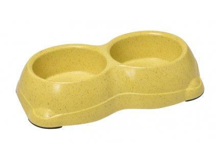 Bambusová dvojitá miska pro psa žltá