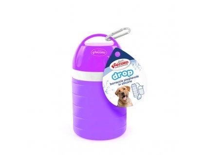 Rastúci cestovní láhev na vodu pro psa s miskou fialová