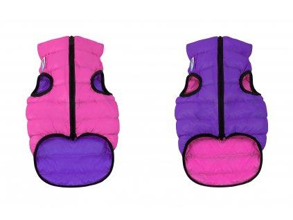 Teplá a lehká vesta pro psa růžovo-fialová