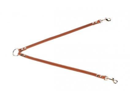 Kožená rozdvojka pro dva psy 40cm dlouhá.