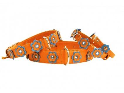 Kožený obojek s kytičkami oranžový