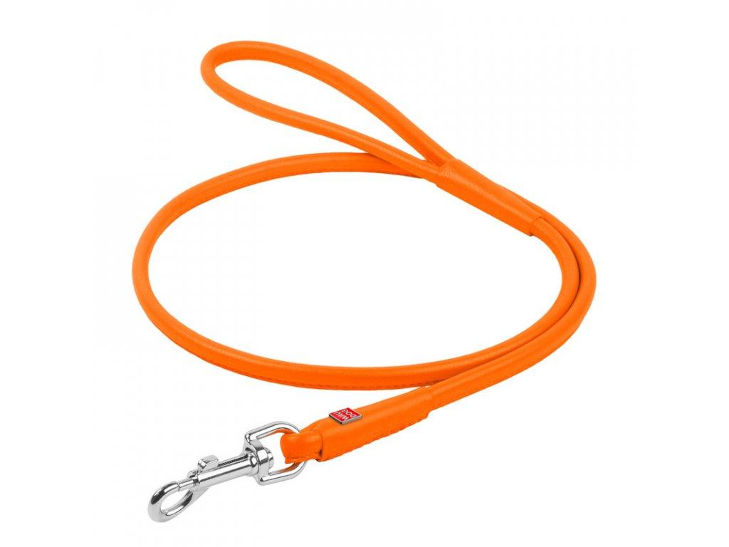 Okrúhle kožené vodítko oranžovej farby 122cm