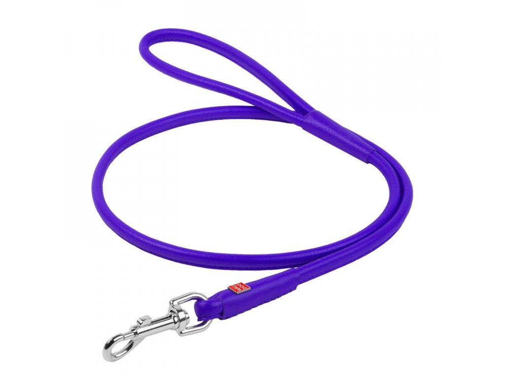 Okrúhle kožené vodítko fialovej farby 122cm