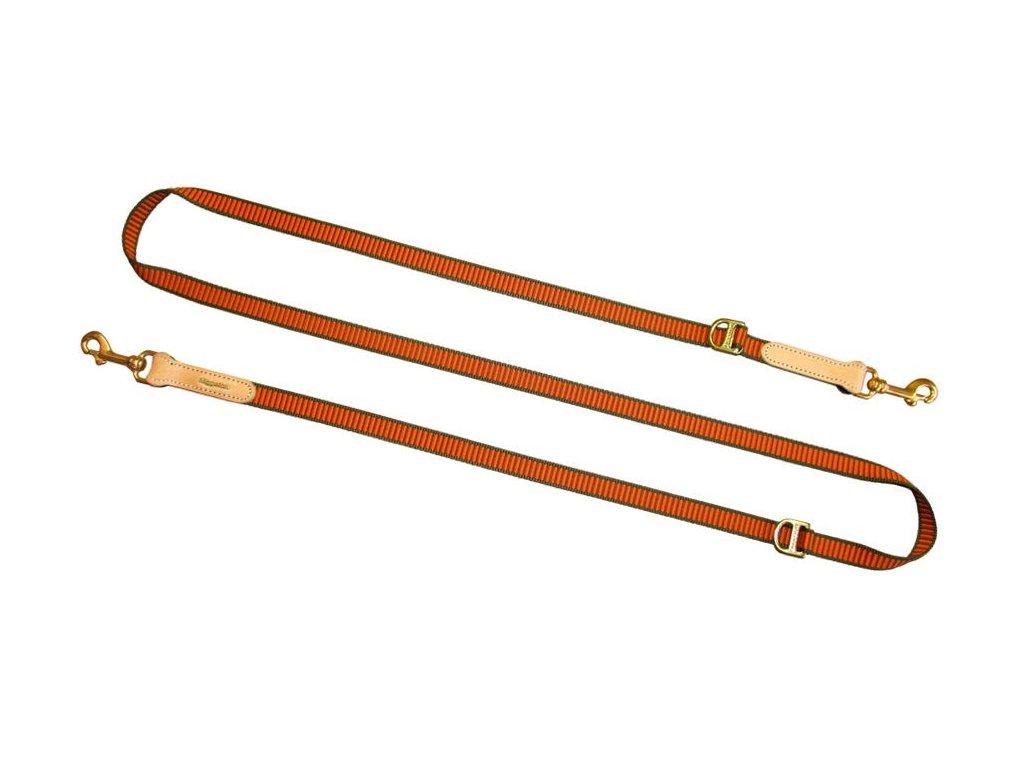 nastavuteľné vodítko oranžové výcvikové univerzálne nylonové