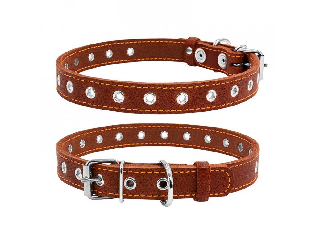 Kožený obojok pre psy s variabilnou dĺžkou hnedý max 50cm, širka: 20 mm