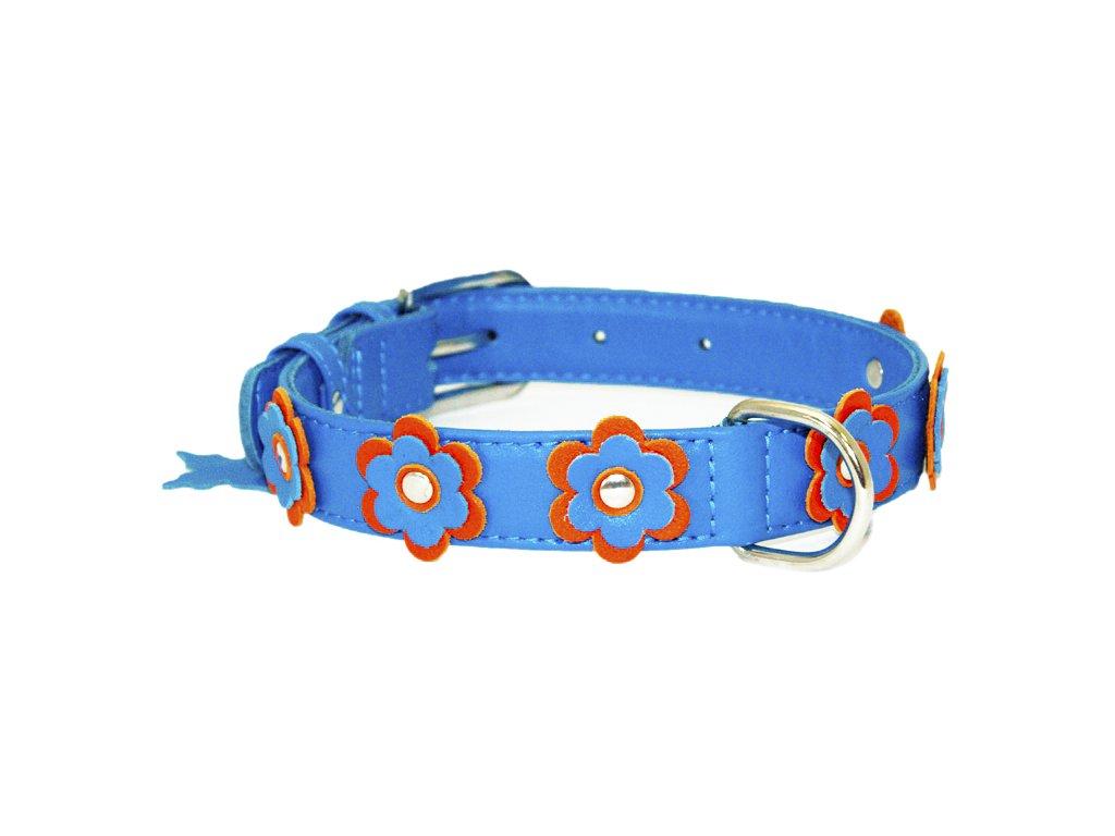 kvietkovaý kožený obojok pre psy modrý