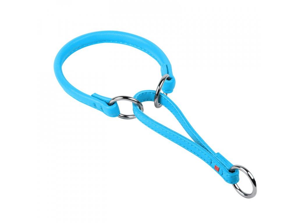 Okrúhly polosťahovací kožený modrý obojok